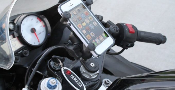 image of phone mounted on a motorcycle for the best motorcycle phone mount reviews and buying guide