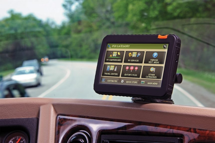image of a working RV GPS navigating for the best RV GPS reviews and buying guide