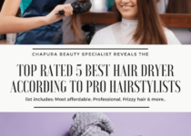 creative image of a hair stylist using a hair dryer on a woman for the best hair dryer reviews and buying guide